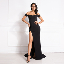 Off the Shoulder V Neck Mermaid Dress Bodycon Split Leg Red Backless Long Black Sexy Floor Length Club Maxi
