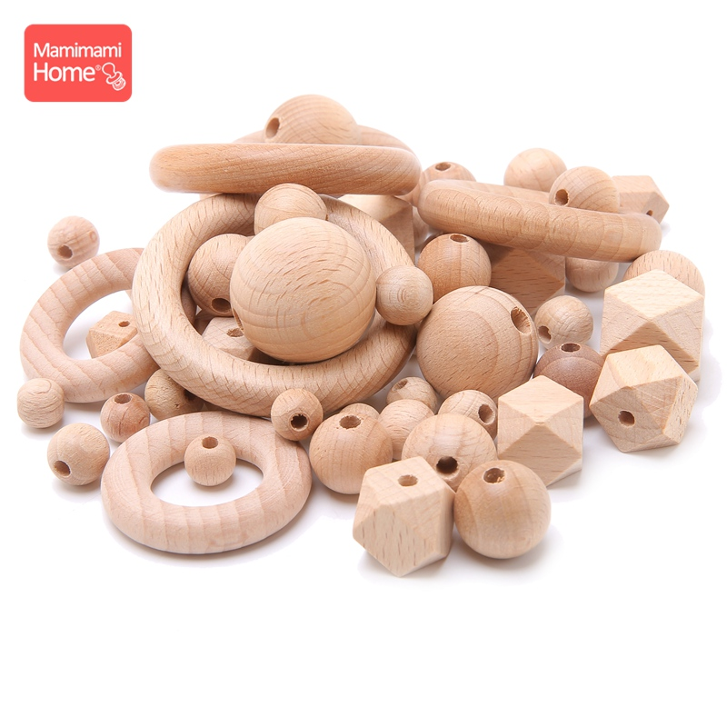 Mamihome 8-20mm Baby Wooden Teether Beech Beads Rings BPA Free Wooden Blank DIY For Nursing Gifts Tiny Rod Children'S Goods Toys