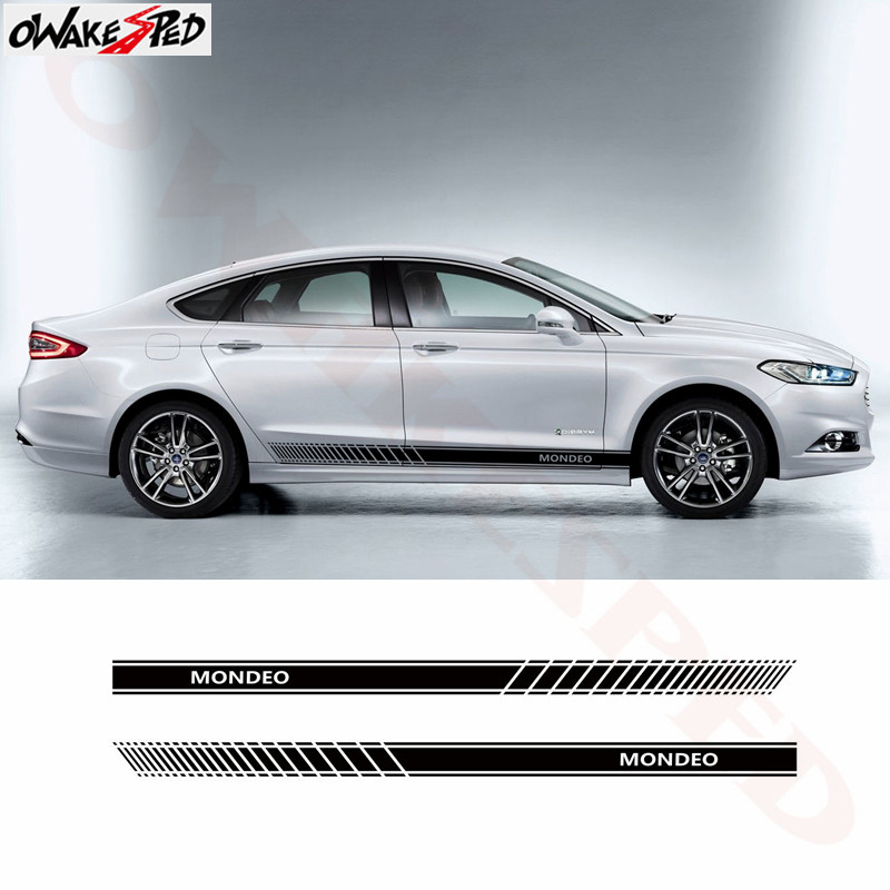 Car Sport Stickers Side Stripes Skirt Decor Sticker Vinyl Decal For Ford Mondeo MK3 MK4 MK5 Auto Body Door Accessories Decals