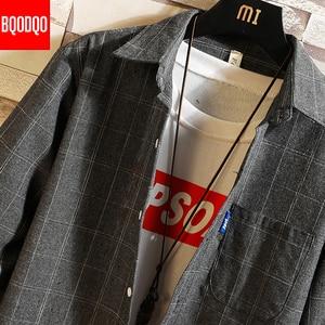 Image 4 - Streetwear Japanese Korean Social Shirts Men Red Winter Brand Cotton Blouses Male Fashion Autumn Long Sleeve Plaid Casual Shirt
