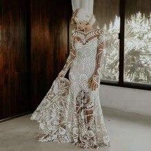 UMK Đầm Vestido De Noiva 2020 Boho Áo Cưới Sang Trọng Phối Ren Tay Dài Đi Biển Áo Cưới Vintage Hai Mảnh Váy Áo
