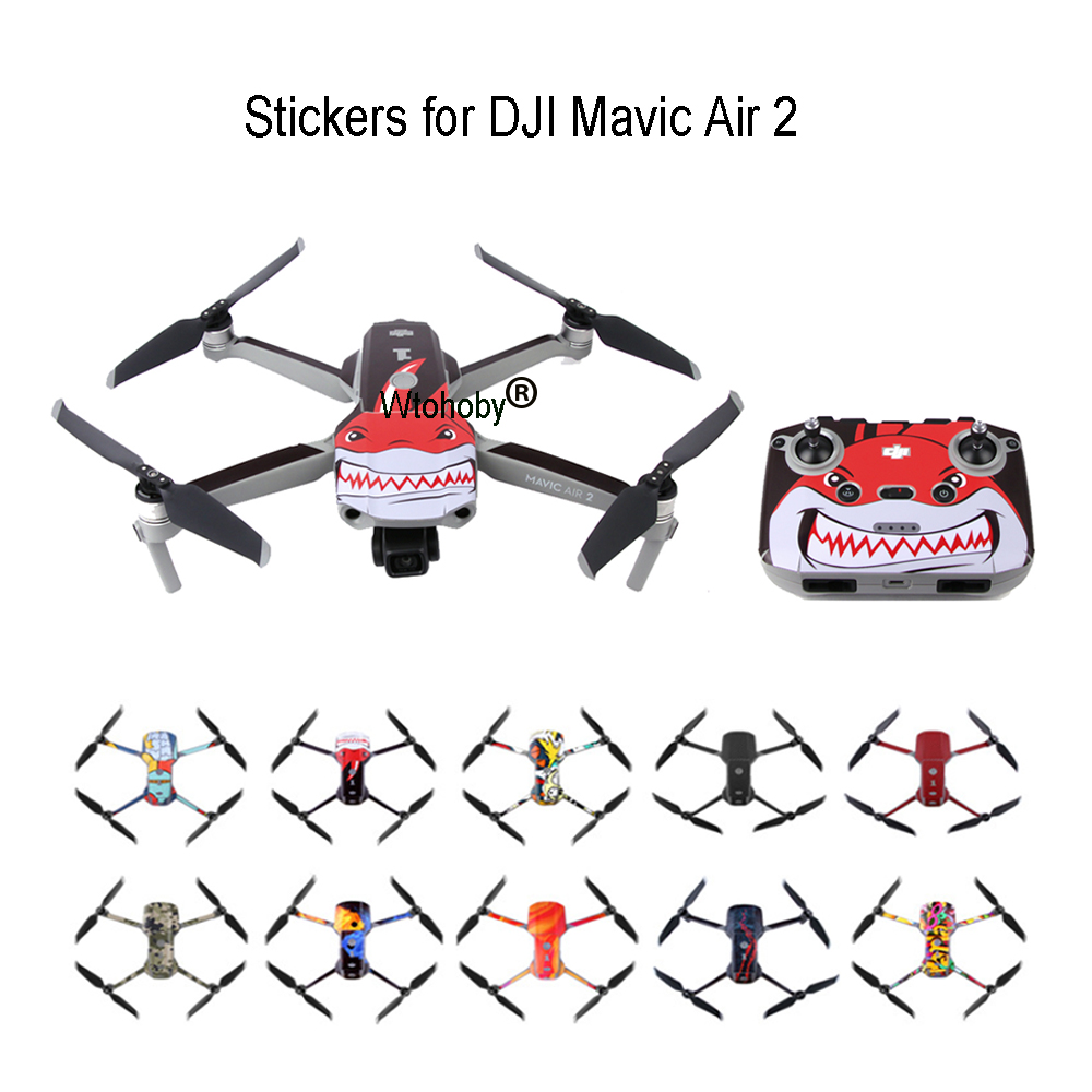 Colorful Drone Stickers for DJI Mavic Air 2 Decal Skin Sticker Drone Body   Remote Controller   3 Battery Protection Film Cover
