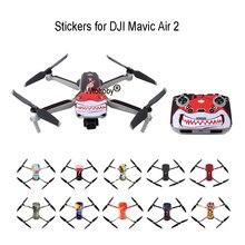Pegatinas para drones de colores para DJI Mavic Air 2, película protectora decorativa cuerpo de Dron + mando a distancia + 3 protector de batería