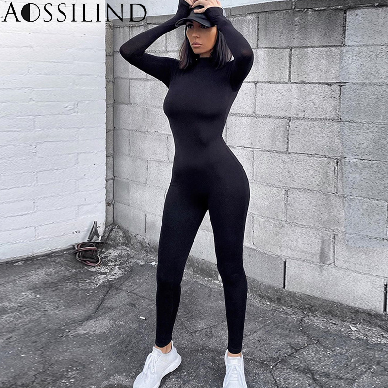 AOSSILIND Black Turtleneck Skinny Casual Jumpsuit Women Long Sleeve Back Zipper Sport Wear Women Workout Bodycon Overalls
