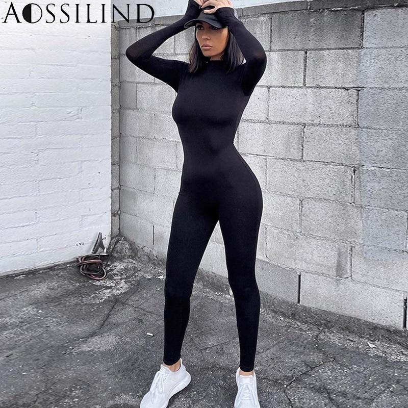 AOSSILIND Black Turtleneck Skinny Casual Jumpsuit Women Long Sleeve Back Zipper Sport Wear Women Workout Bodycon Overalls