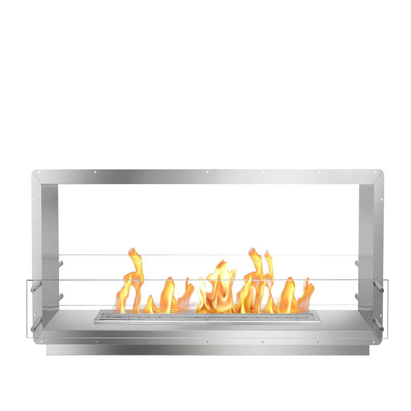 1300 Mm L Real Fire Stainless Steel Double Side Bio Ethanol Recessed Fireplace Fireboxes