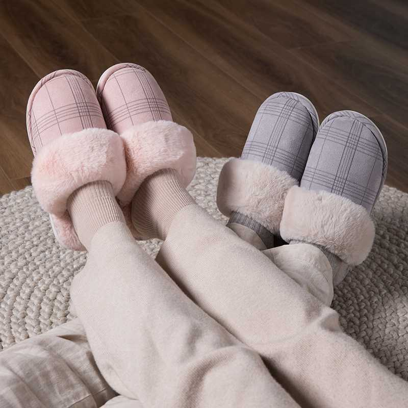 CYSINCOS Women's slippers Fur Slippers Winter Warm Big Size 36-44 Plush Non Slip Home shoes Indoor  Couple Floor Shoes Bedroom