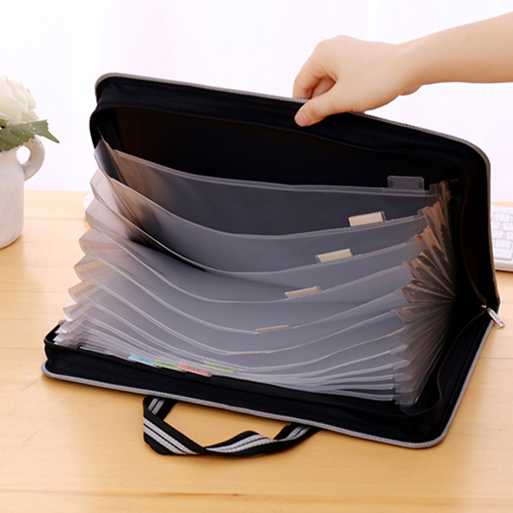 Portable File Filing Bag Folder Document Organizer With Canvas Zippers For Examination Test Papers Books Office School Teachers