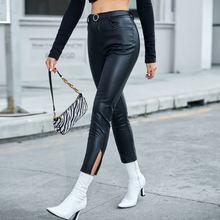 Весна/Осень 2021 кожаные брюки с высокой талией и разрезом на