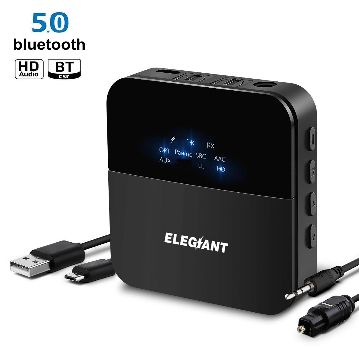 ELEGIANT 3.5mm 2RCA HD bluetooth 5.0 Audio Transmitter Receiver Wireless Adapter / AUX / LL / HiFi for Headphone Car