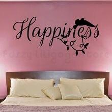 Szczęście słowo napy naklejki ścianka do sypialnia ptak romans kolor winylu ścianka do wystroju przedsprzedaży 802
