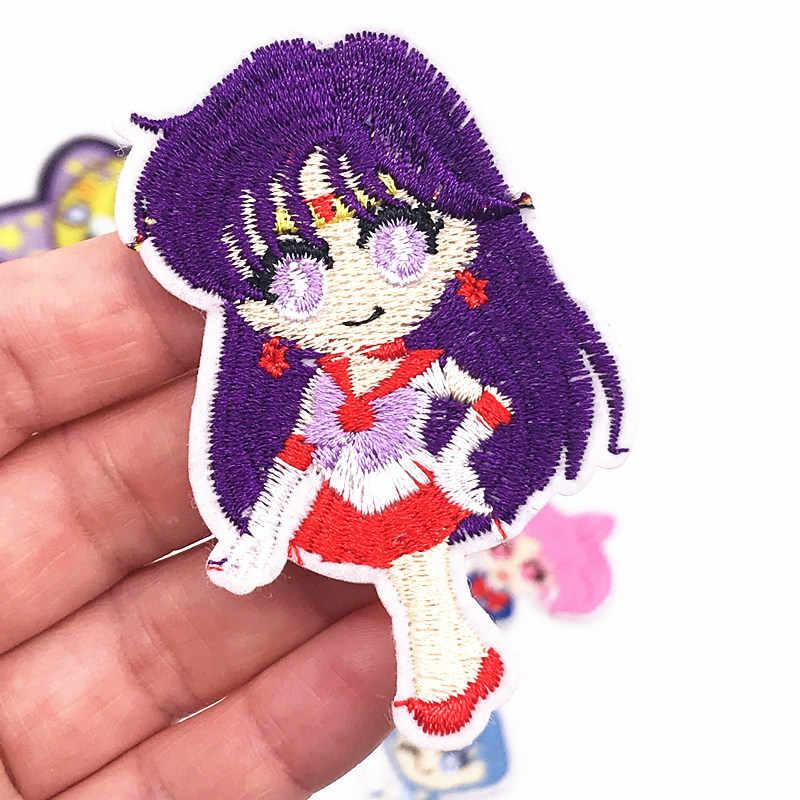 1PCS Janpan Anime 루나 고양이 캐릭터 패치 다리미에 Applique 선원 문 자수 바느질 용품 패브릭 스티커 DIY 의류
