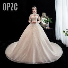 Moda zarif yüksek boyun lüks dantel müslüman düğün elbisesi 2020 yeni şampanya uzun tren aplike prenses gelin Robe De Mariee
