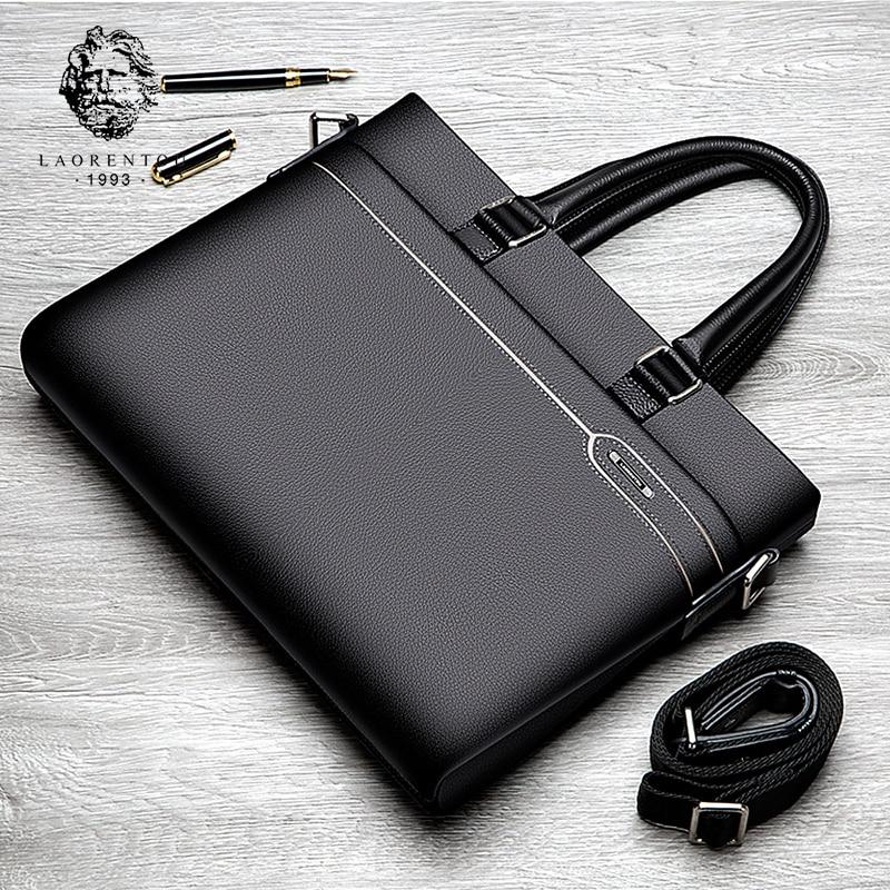 LAORENTOU Men's Genuine Leather Briefcase Business Laptop Handbags Male Crossbody Shoulder Bag Cow Leather Notebook Briefcases