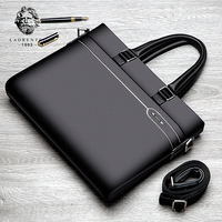 LAORENTOU Men's Genuine Leather Briefcase Business Laptop Handbags Male Crossbody Shoulder Bag Cow Leather Notebook Briefcases