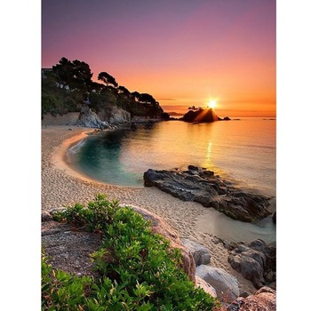 5D DIY Diamond Painting Landscape Sunset Sea Kit Full Drill Square Embroidery Mosaic Art Picture of Rhinestones Home Decor Gift 17