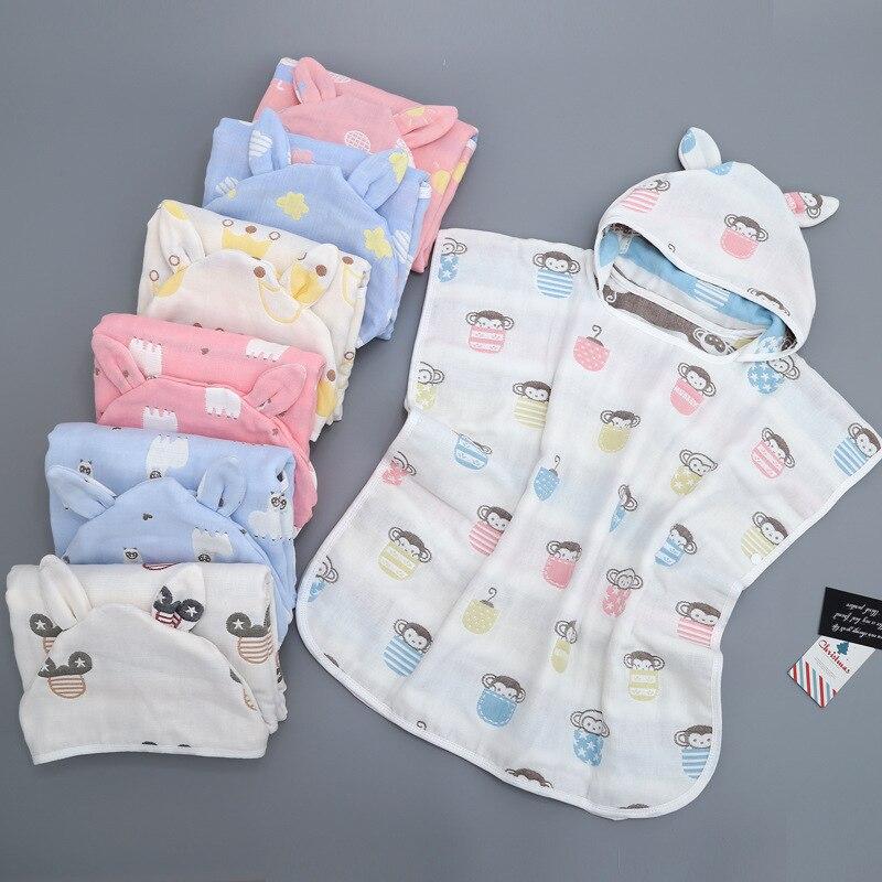 Infant Cartoon Six 6-Layer Gauze Pure Cotton CHILDREN'S Cloak Mantle Hooded Bathrobe Pure Cotton Cloak