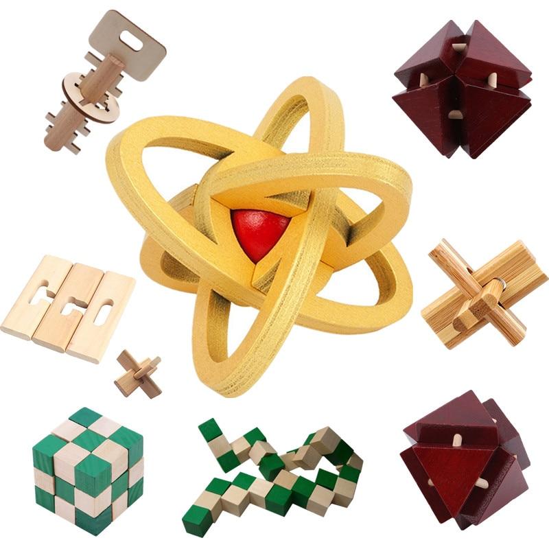 Novo design iq cérebro teaser kong ming bloqueio 3d madeira bloqueio rebarbas quebra-cabeças jogo de brinquedo madeira tamanho pequeno para adultos crianças