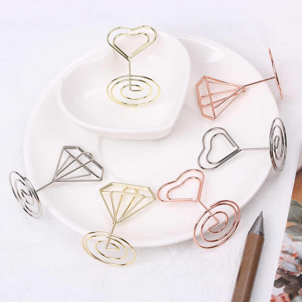 1 PC Cool Wedding Party Desktop Decoration Metal Place Card Holder Romantic Heart Diamond Photo Clip Table Number Stand