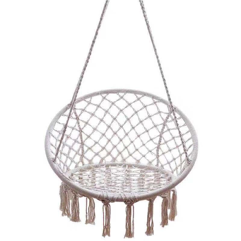 Nordic Outdoor Hammocks Europfine Indoor Cotton Woven Basket Tassel Swing Hanging Chair  Outdoor Patio Furniture  Swings