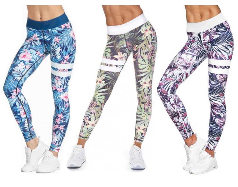 Hot Sale Digital Printing High Waist Casual Leggings Leaf Lady Sports Yo-ga Leggings Nine Pants Leggings Fashion Fitness Pants