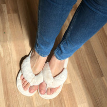 Creative Women Casual Imitation Fur Short Plush House Flip Flops Slippers Thick Fluff Warm Slippers Ladies Soft Cotton Shoes cheap zonnebloem Corduroy Flat (≤1cm) Fits true to size take your normal size Fabric Shallow Solid Winter indoor Flat with