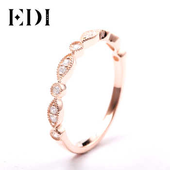 EDI 14kt Rose Gold Natural Diamond Band Ring Fine Jewelry Gifts For Women Diamond Infinity Ring Dainty Ring Stack Ring - DISCOUNT ITEM  14% OFF All Category
