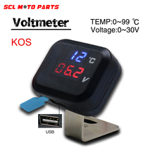 ALconstar-Racing Motorcycle Voltmeter Temperature Voltage Display Gear Indicator With USB Charge Universal KOSO