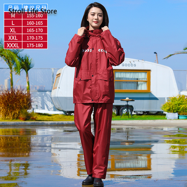 Blue Rain Jacket Motorcycle Raincoat Women Men Adult Rain Pants Split Set Nylon Waterproof Suit Poncho Gabardina Hombre Gift 5