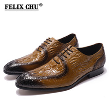 Fashion Mens Oxford Shoes Genuine Leather Classic Crocodile Alligator Print Pointed Toe Lace Up Dress Shoes for Men