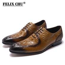 Zapatos Oxford de moda para hombre, zapatos clásicos de cuero genuino con estampado de cocodrilo, punta estrecha, vestido con cordón, zapatos para hombre