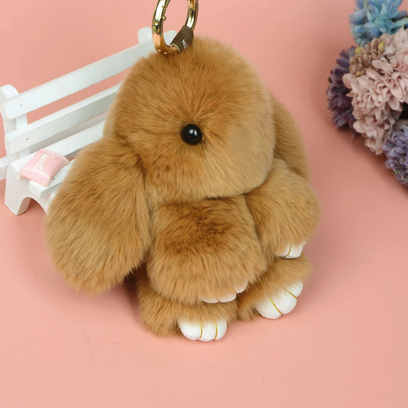 Fancy/&Fantasy 18CM Fluffy Bunny Keychain Rabbit Key Chain Fur Handbag Bag
