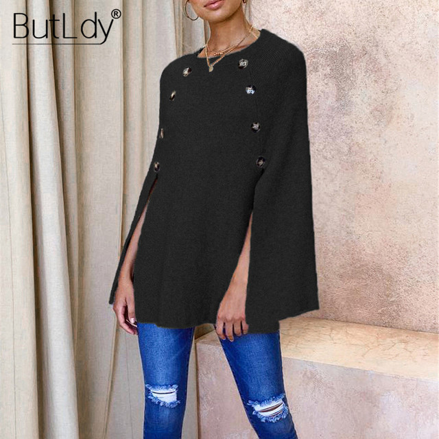 Button Irregular Cloak Sweater Women Knitting Pullover Autumn Winter Fashion 2019 Batwing Sleeve Sweater Knitwear Female Tops 6