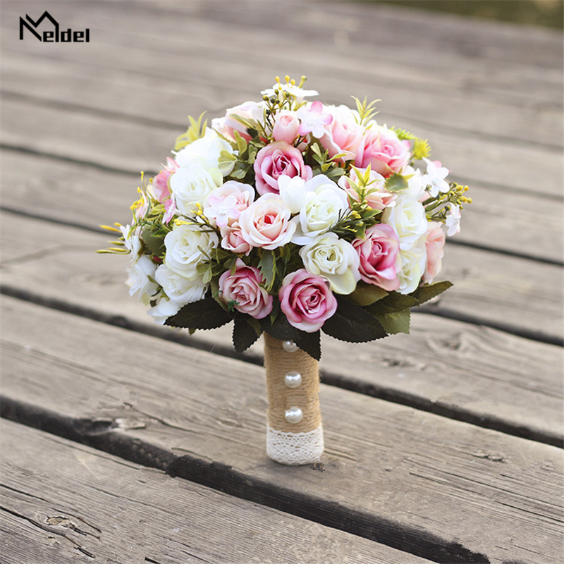 Meldel New Purple White Wedding Bouquet Handmade Artificial Flower Rose Buque Casamento Bridal Bouquet For Wedding Decorations