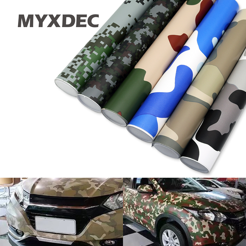 MYXDEC 30cm Wide Premium Camo Car Sticker Vinyls PVC Motorcycle Sticker Film Army Military CAMO Camouflage Green Woodland Decal