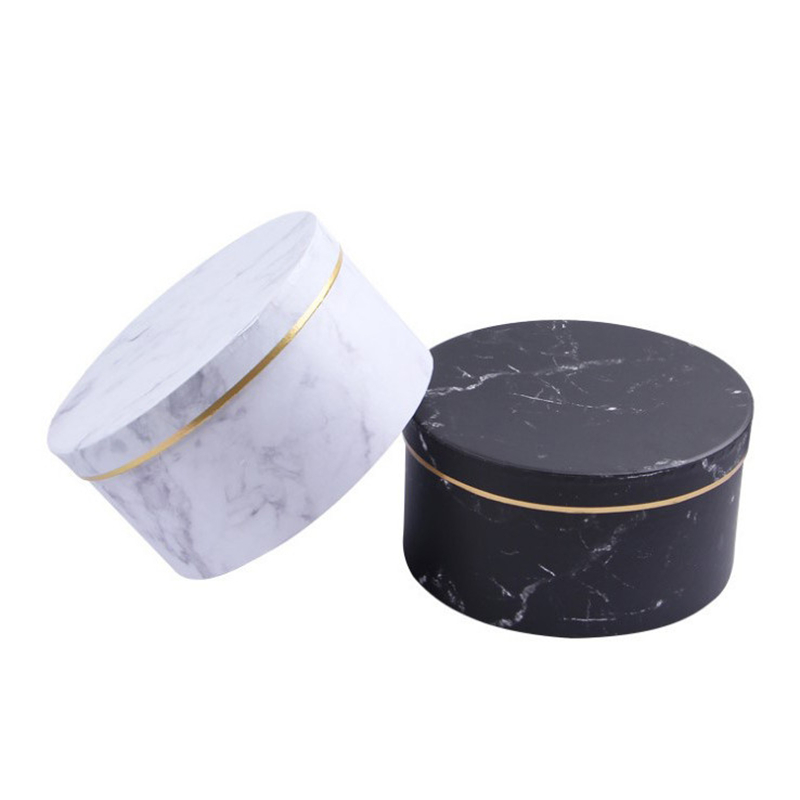 Christmas Creative Simple Marble Style Gift Box Florist Hat Boxes Gift Bag Candy Box Packaging Flowers Gifts Party Supplies