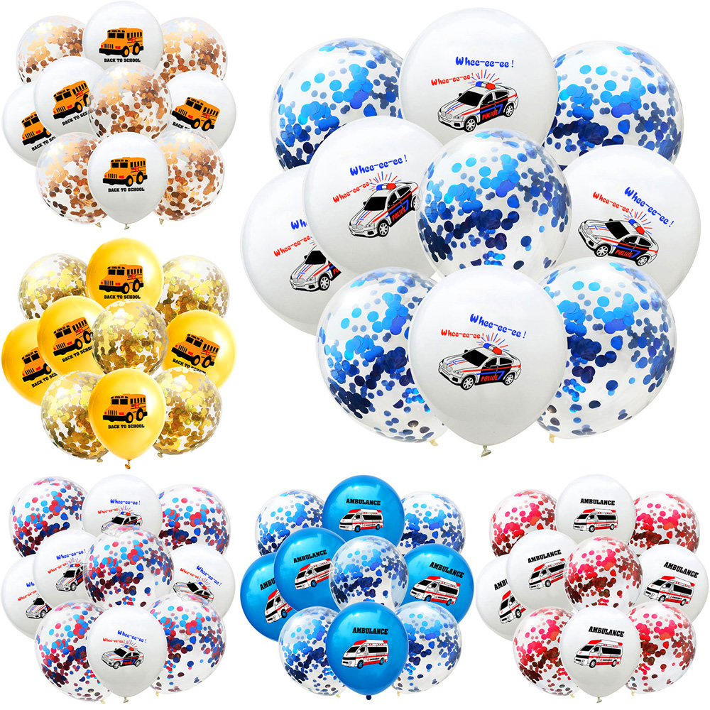 10Pcs 12inch Police Ambulance School Bus Confetti Latex Balloons Car Theme Baby Shower Birthday Party Decoration Ballon Globs