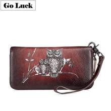 GO-LUCK Brand Genuine Leather Wristlet Daily Clutches Wallet Women Handhold Bag Cell Phone Pouch Card Case Women's Zipper Purse