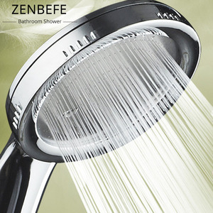 ZENBEFE 1PC Pressurized Nozzle Shower Head ABS Bathroom Accessories High Pressure Water Saving Rainfall Chrome Shower Head