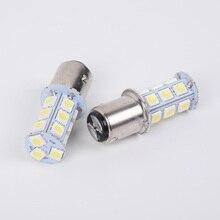2 Pcs Quality DC 12V 35W White Bulbs BA20d 27SMD 5050 LED 180-220LM Light Lamps