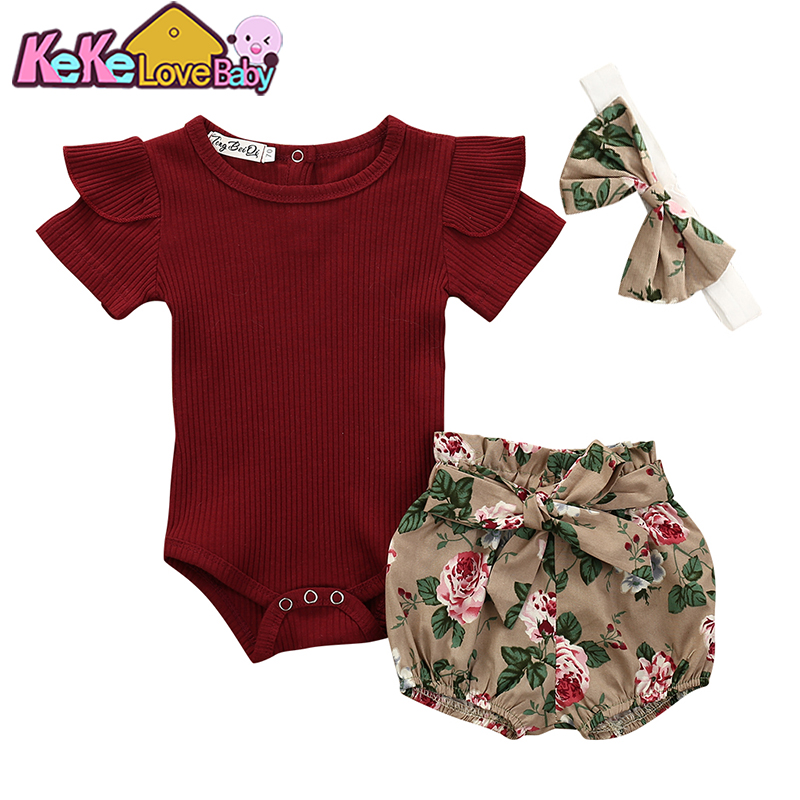 2PCSSet Newborn Infant Baby Girls Bow Strap Top Floral