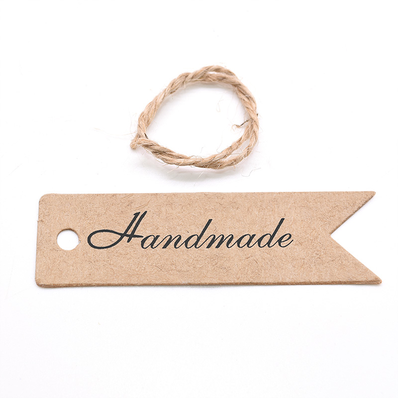 100pcs White Kraft Paper Gift Hang Tags with Rope Product Labels Tag Wedding Party Favor Cookies Candy Bag Packaging Supplies-3