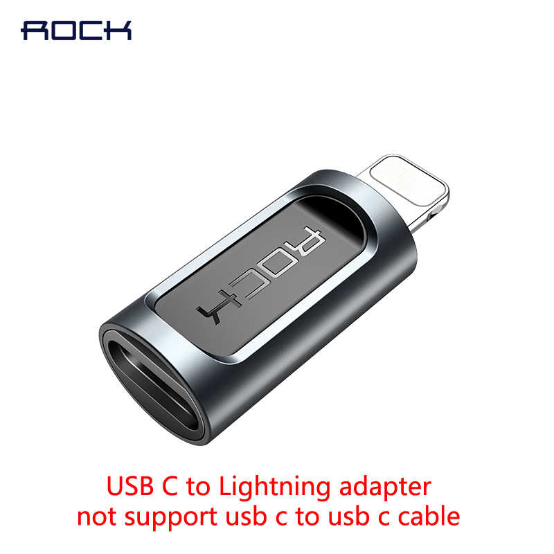 Rock สำหรับ usb c to Lightning adapter สำหรับ iPhone xs max xr 8 7 6s plus 5s 11 ipad pro fast charging converter micro type c