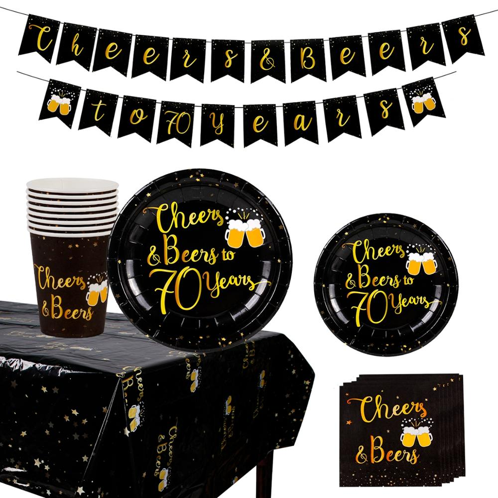 Black Gold Disposable Tableware Happy 30th 40th 50th 60th <font><b>70th</b></font> 80th 90th <font><b>Birthday</b></font> Party Decor Adult <font><b>Birthday</b></font> Party Supplies image