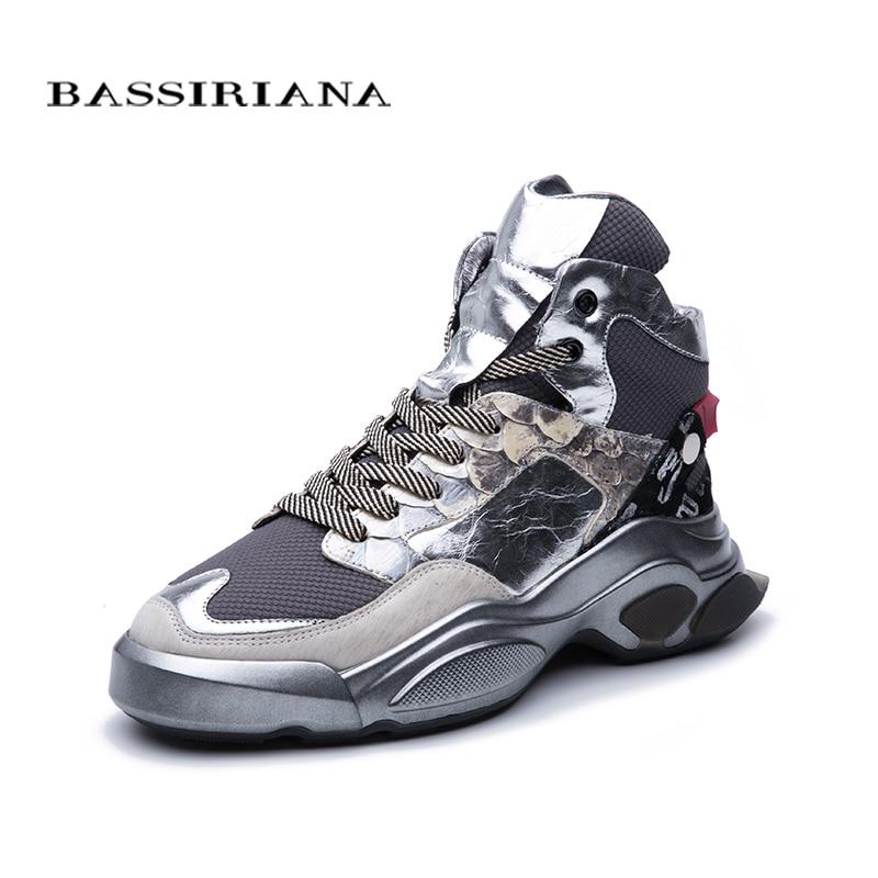 BASSIRIANA2019 зима новая повседневная женская обувь серебристо-черная кожа европейская мода тенденция плоские туфли