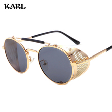 Round Steampunk Sunglasses UV400 Retro Brand Design Metal Fashion Men Women Gafas De Sol Gothic