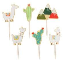 Paca festa de aniversário decorações do bolo para crianças bandeiras do bolo cactus llama alpaca unicórnio festa cupcake topper
