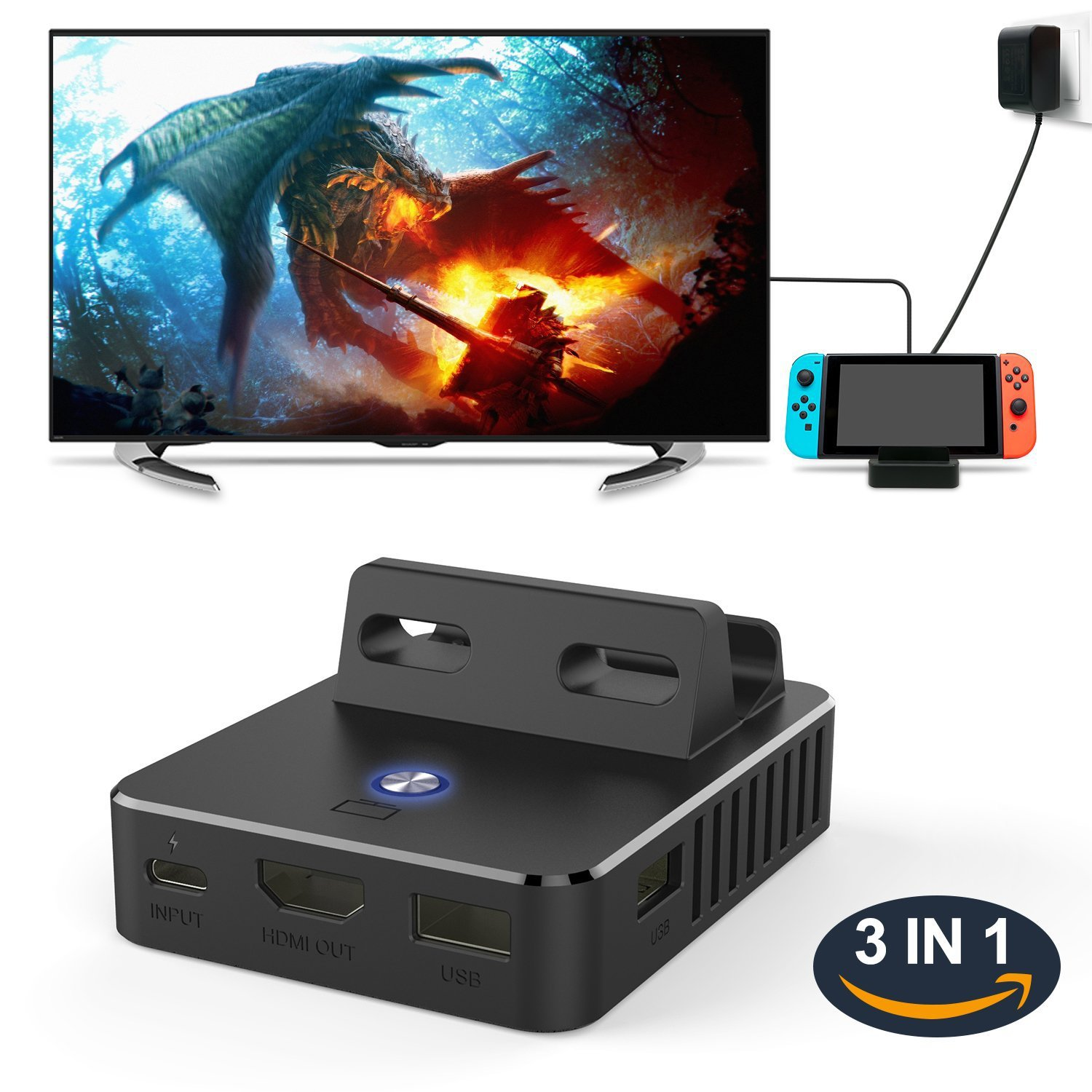 Switch Dock Base TV HDMI Charging Base Switch Heat Dissipation Portable Holder-Switch Modes