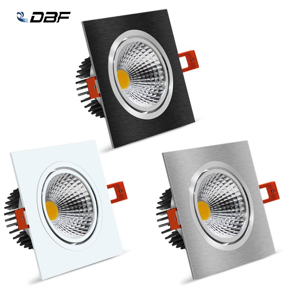 [DBF]Angle Adjustable LED COB Recessed Downlight Dimmable 7W 9W 12W 15W Square Ceiling Spot Light 3000K 4000K 6000K AC110V/220V