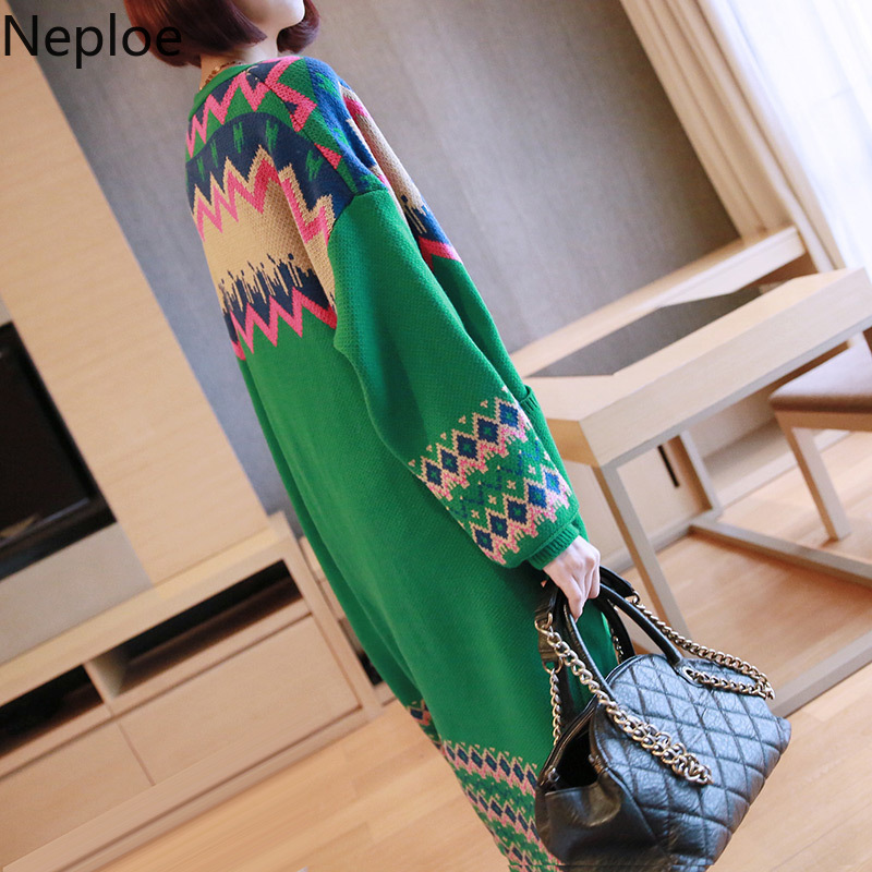 Neploe Korean V Neck Maxi Knit Cardigans Loose Plus Size Sweater Women Contrast Color Patchwork Pull Femme Hiver Coat 46274